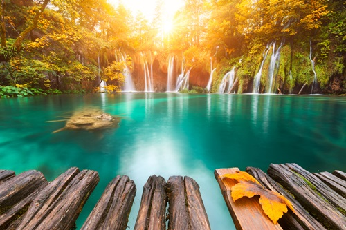 Plitvice Lakes National Park at sunset