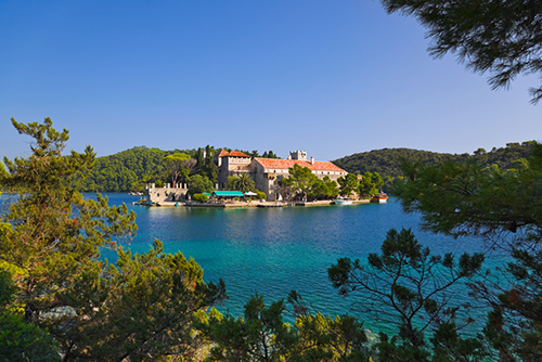 Monastery at island Mljet in Croatia