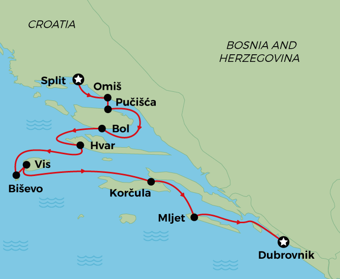 MS Splendid Superior Cruise Map Split to Dubrovnik