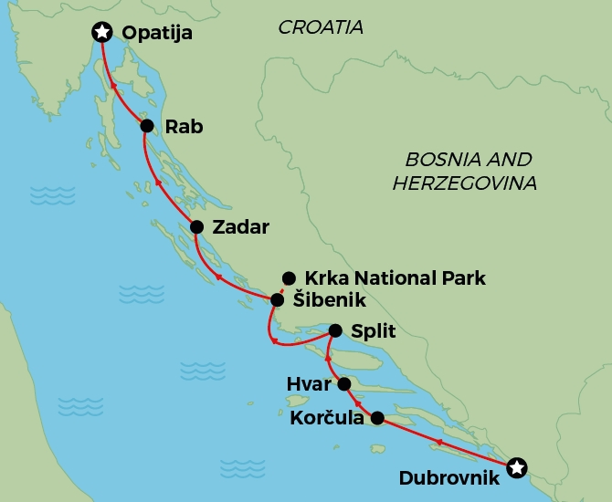 Opatija to Dubrovnik signature cruise map