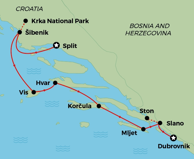 Split to Dubrovnik map