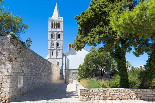 Historic old town of Rab City, Rab Island, Croatia