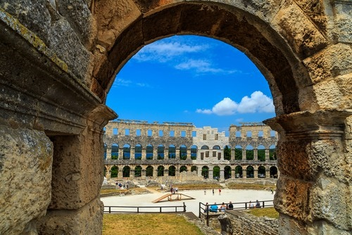 Look into Pula amphitheatre
