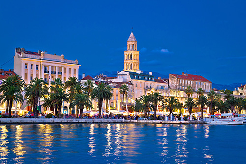 split waterfront evening view