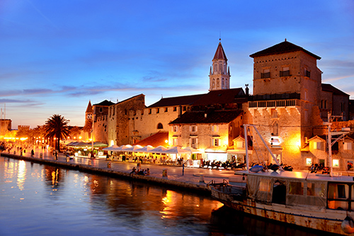 Old town of Trogir in Dalmatia, Croatia by night