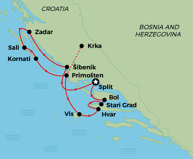 Split to Zadar to Split Map