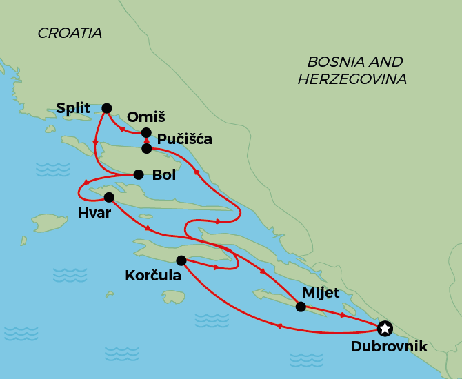 Round Trip from Dubrovnik map