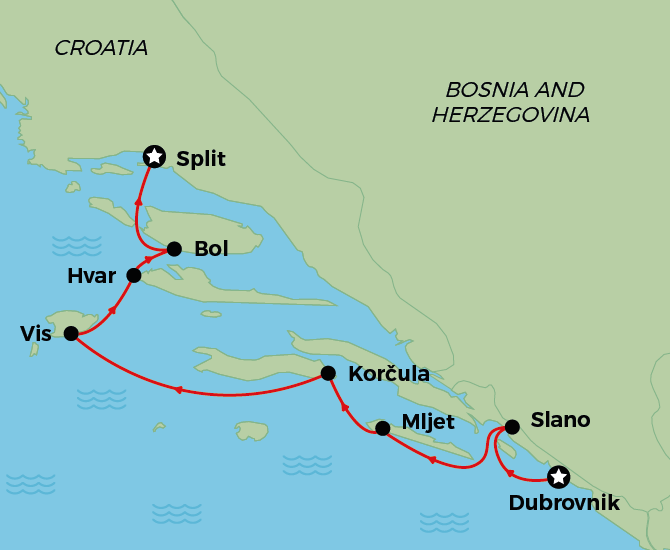 Dubrovnik to Split Map