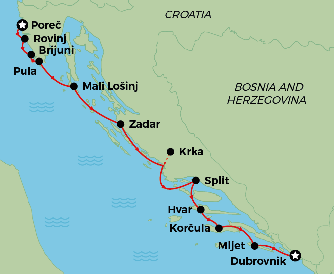 Porec to Dubrovnik Deluxe Cruise Map
