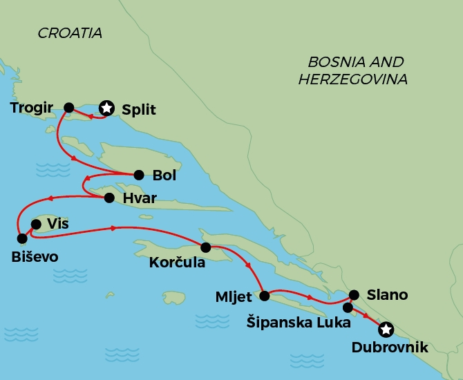 Split to Dubrovnik Deluxe Balcony Cruise Map