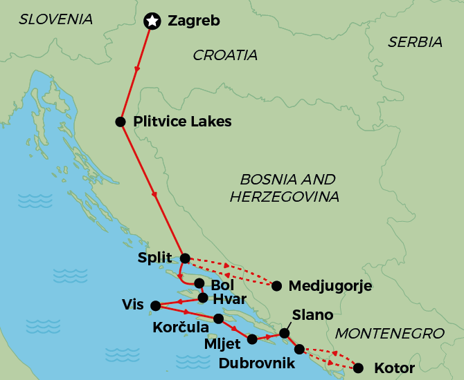 Croatia, Bosnia & Montenegro Cruise Map