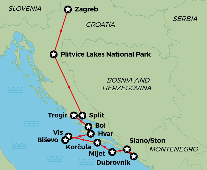 Discover Croatia Cruise Map