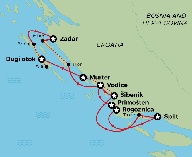 Northern Dalmatia Cycle Cruise Map