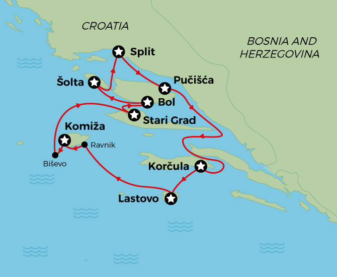 Croatia Naturist Cruise Map