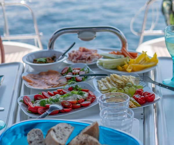 Meals on the catamaran