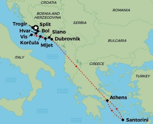 Highlights of Croatia & Greece Cruise & Private Land Tour