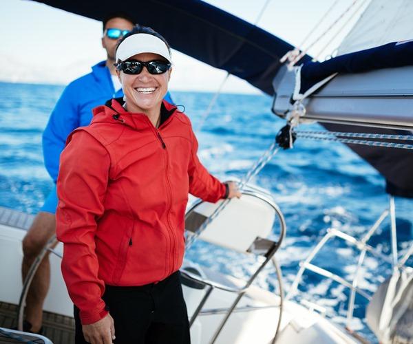 skipper and hostess on the catamaran