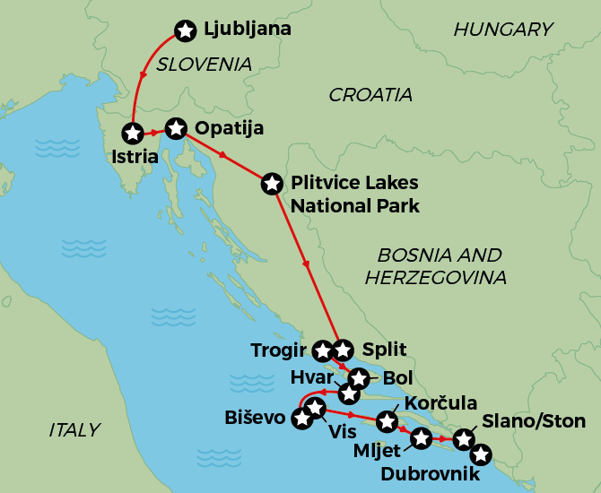 Wonders of Croatia, Slovenia, Montenegro Map