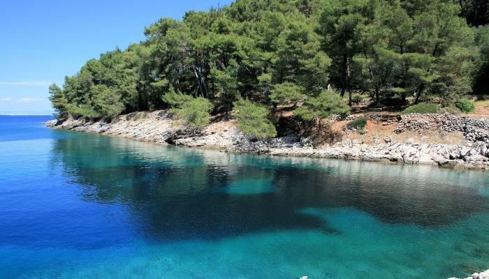 Blue bay between Veli and Mali Losinj, Croatia