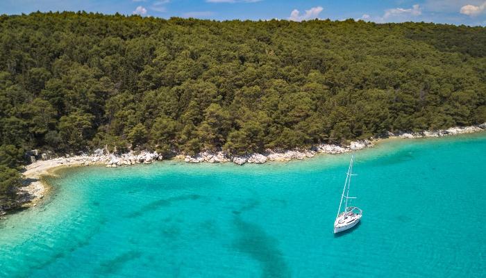 Yacht off Rab island, Croatia