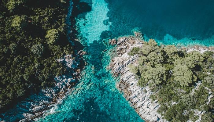 Aerial view of Vis, Croatia