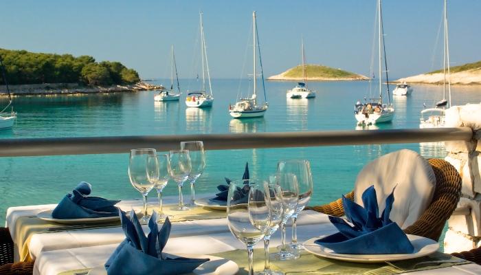 Table setting overlooking Dalmatian Sea