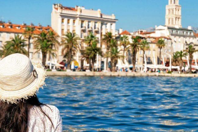 Tourist looking across Split wide