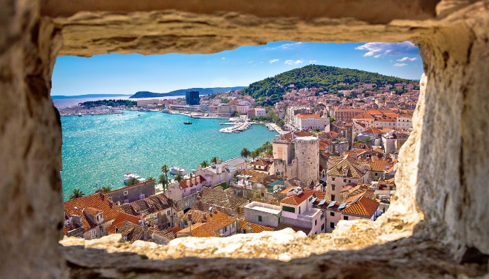 View of Split through ancient walls