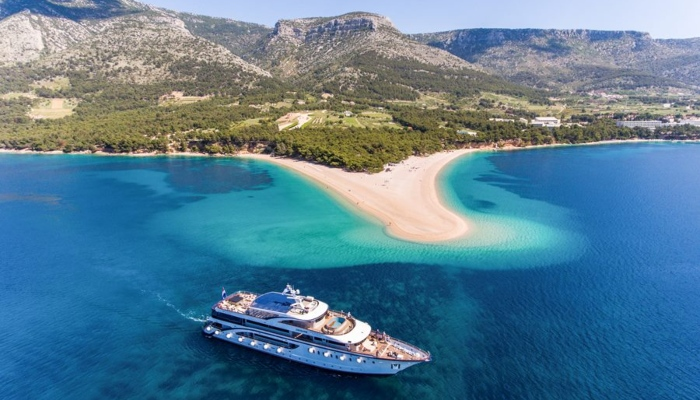 Cruise ship off Zlatni Rat, Croatia